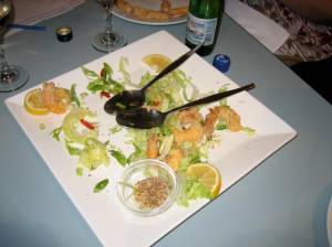 The meagre remains of our salt and pepper prawns!