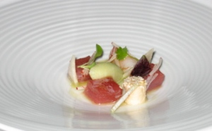 Confit yellow fin tuna & king prawns with green apple and lemongrass sorbet, soy and sesame