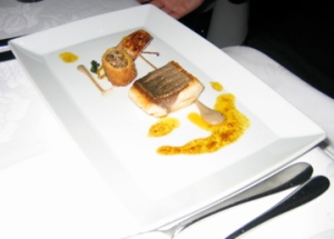 Pan-fried hiramasa kingfish with aubergine puree, crisp cannellone of mushrooms, ras el hanout and turnips