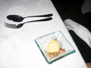 Salad of grapes with verjuice and Perrier granita, honey sabayon
