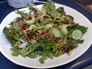 Skye & Meg's Green Salad with Avocado and Pomegranate