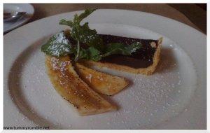 chocolate tart with caramelised banana